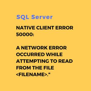 SQL Server Native Client Error 50000: A network error